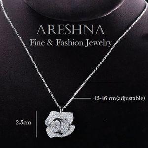 Areshna Jewelry - 925 Rose Swarovski Crystal Luxury Pendant Necklace